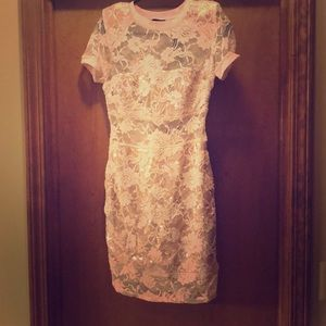 Light pink bebe mini lace dress NWT